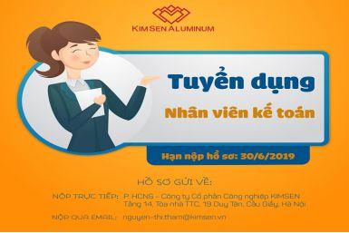 Tuyển dụng Vị trí Nhân viên Kế toán - Kế toán vật tư (Nữ)